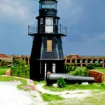 Lighthouse at the Dry Tortugas and Fort Jefferson .