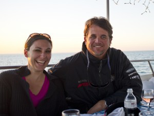 Island Genn and Capt Steven enjoying a Valentine's Day Dinner aboard the Sunset Culinaire
