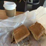 Breakfast sandwich and cafe con leche from Bien.
