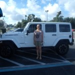 Island Genn in front of her Jeep Rubicon