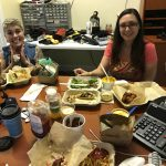 Island Genn and Lila having lunch at the office.