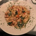 Lobster, shrimp and scallops over pasta