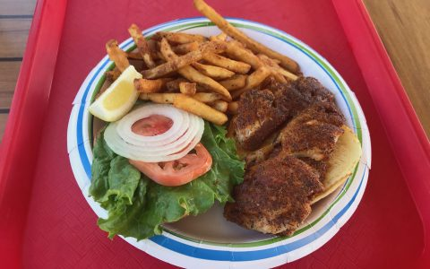blackened snapper fish sandwich at key largo fisheries restaurant