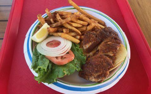 blackened snapper fish sandwich at key largo fisheries restaurant