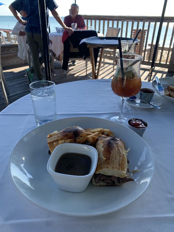French dip sandwich Louie's Backyard Key West Lunch